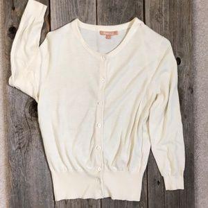 Kier + J 3/4 Sleeve White Cardigan